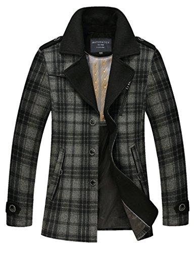 Match Men's Wool Blend Buttoned Top Coat(916-Light gray,US XS(Asian tag M))