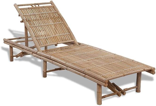 UnfadeMemory Tumbona Jardin con Respaldo Ajustable en 3 Posiciones,Muebles de Jardín o Playa,Bambú (200x65x(24-87) cm): Amazon.es: Hogar