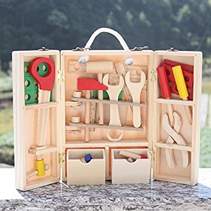 Amazon Com Tools Baby Toys Woodworking Tool Set Wooden Toys For