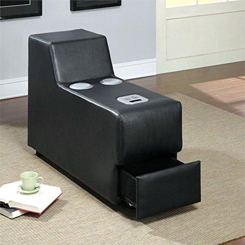 Furniture of America Contreras Leatherette Console in Black by Furniture of America