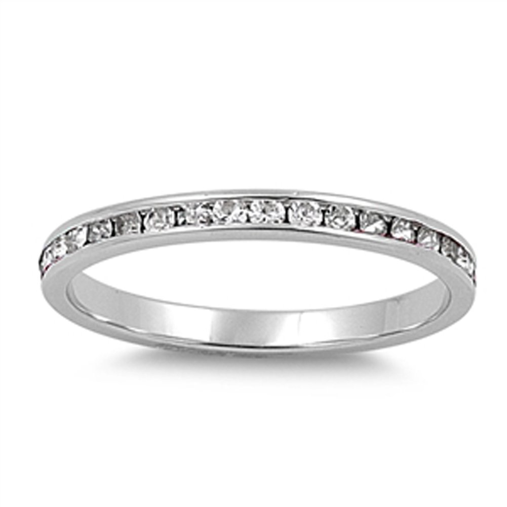 Clear CZ Thin Eternity Stackable Ring New .925 Sterling Silver Band Size 3.5