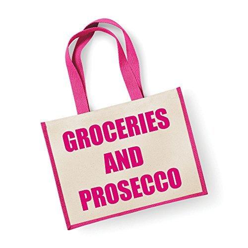 Große Jute Tasche Lebensmittel und Prosecco Pink Tasche Mütter Tag Neue Mama Geburtstag Weihnachtsgeschenk