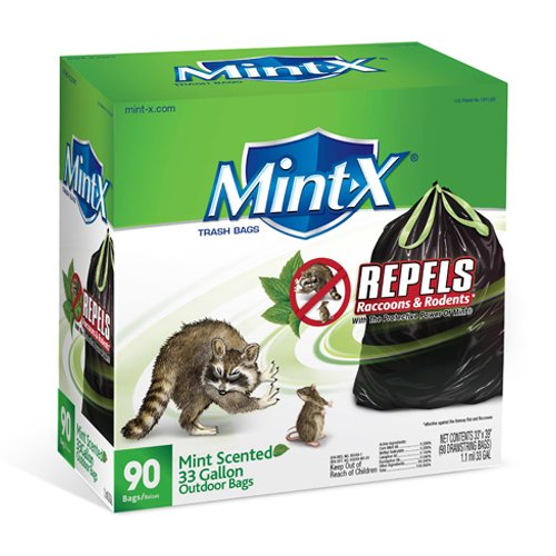 Mint-X Plastic 33 Gallon Drawstring Rodent Repellent Trash Bag, 1.1 Mil, Flat Seal, 39 Height x 33 Length, Black (Pack of 90) by Unknown