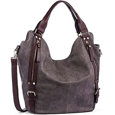 JOYSON Women Handbags Hobo Shoulder Bags Tote PU Leather Handbags Fashion Large Capacity Bags Dark Grey