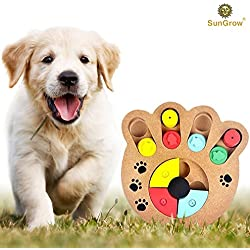 SunGrow Unique Shuffle Puzzle Smart Toy for Puppies by Improve Concentration : Reduce hyperactivity : Fun Interactive IQ Game to Hide Treats in : Encourage Mental & Physical Skills of Pets