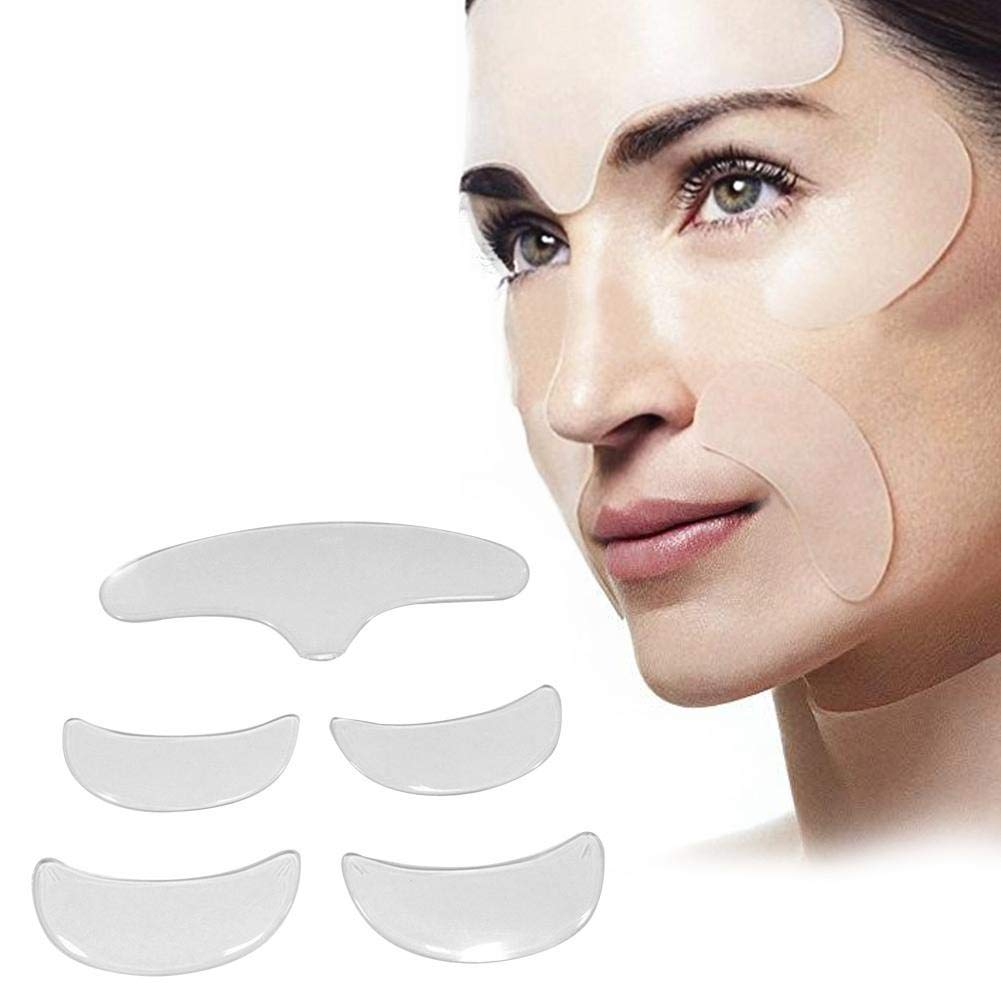 Bulary 5pcs Anti Wrinkle Pad Silicone Eye Face Forehead Stickers Patch Invisible Face Lifting Kit Anti-aging Eliminate Wrinkle Face Pad Wrinkle Remover Strips