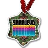 Christmas Ornament Retro Cites States Countries Sarajevo - Neonblond