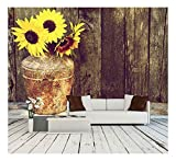 wall26 – High Contrast, Vintage Image of a Rustic Vase with Beautiful Sunflowers – Removable Wall Mural | Self-adhesive Large Wallpaper – 100×144 inches