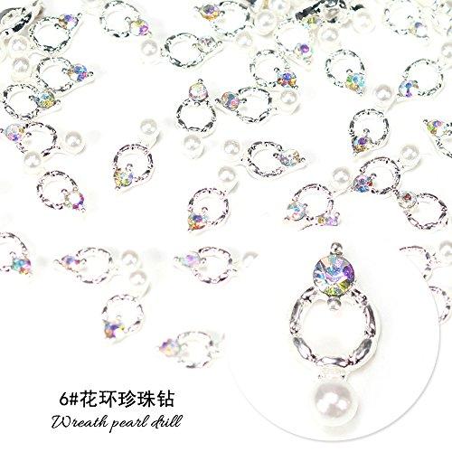 tal Drill Crystal Decorative Nail Art Rhinestones Star Alloy 3d Charms Decorations Glitter Nail Jewelry Manicure Accessories (6# wreath pearl drill) ()