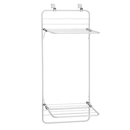 InterDesign Brezio Over Door Clothing Drying Rack For Laundry Room Storage    Double Shelf White/