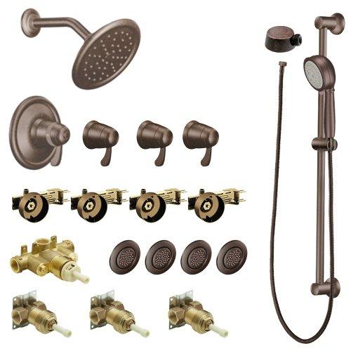 Exacttemp Valve Volume 3/4 Control (Moen KSPEX-HB-TS276ORB 7-Inch Rainshower Vertical Spa Kit with Handheld Shower and Slide Bar, Oil Rubbed Bronze)