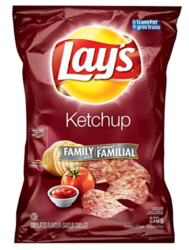 Canadian Lays Potato Chips, Ketchup, Large Family size - 3 Pack
