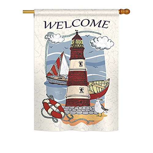 """Breeze Decor - Lighthouse Shore Coastal - Everyday Impressions Decorative Vertical House Flag 28"""" x 40"""" Printed in USA"""