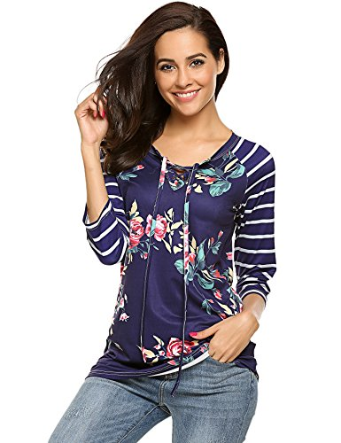 Womens Floral Printed Blouses 3/4 Sleeve Shirts Striped Tee Tops (S, Dark (3/4 Sleeve Floral Blouse)