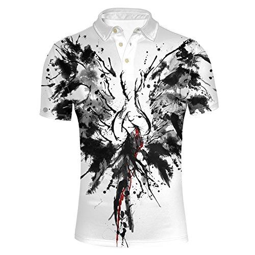 HUGS IDEA Ink Painting Design Men's Pique Polos T-Shirts Summer Casual Short Sleeve Slim Fit Shirt Tees Tops White Black