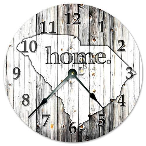 - Sugar Vine Art SOUTH CAROLINA STATE HOME CLOCK Black and White Rustic Clock - Large 10.5