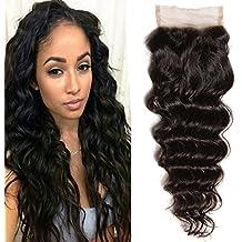 "Brazilian Natural Wave Lace Closure 100% Virgin Human Hair Lace Closure Free Part Natural Color (18"" closure)"