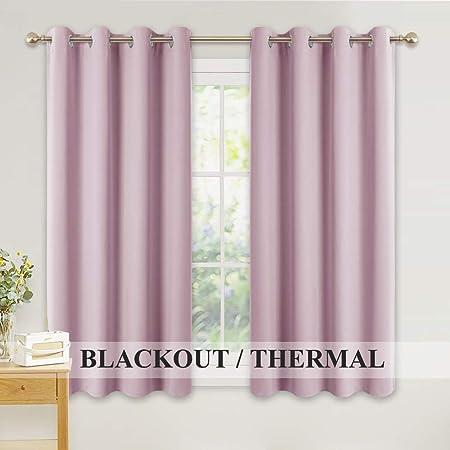 Eyelet Curtains for Kids Nursery Room Darkening Curtain 2 Pieces Light Pink