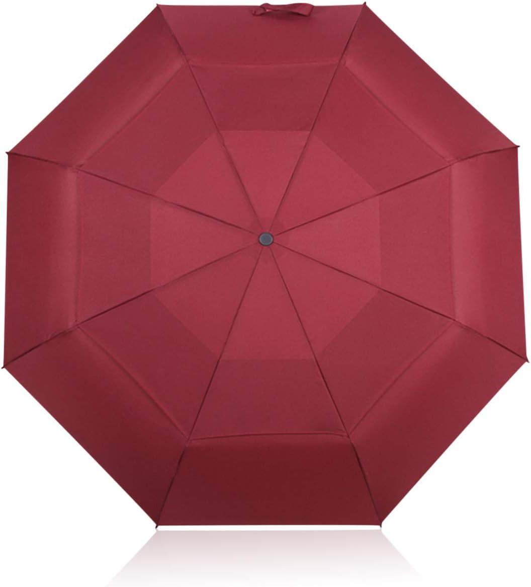 DORRISO Automático Abrir/Cerrar Paraguas Plegable Viajar Dosel Doble Construcción y Resistente al Viento Impermeable 8 Varillas Reforzadas Mujer Hombre Compacto Viajar Paraguas Rojo