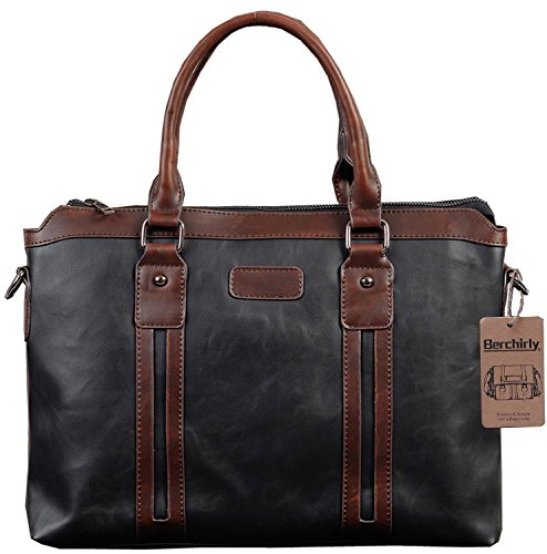 Berchirly Business Laptop Messenger Bag Briefcase Detachable Shoulder Strap Black