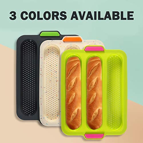Breadstick /& Rolls Silicone Baguette Baking Tray Perfect for French Bread Loaf Baking Mold with 1 Silicone Pastry Dough Cutter 3-Loaf Nonstick Perforated Baguette Pan