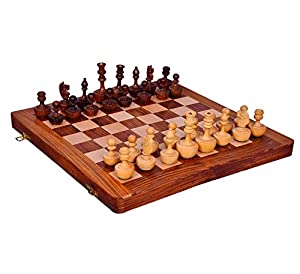 "Purpledip Wooden Chess Set with Unique Designer Auto-correcting Pieces ""Never Back Down"": Strategy Board Game with Universal Rules; Loved Alike by Kids and Adults of All Ages (10413)"