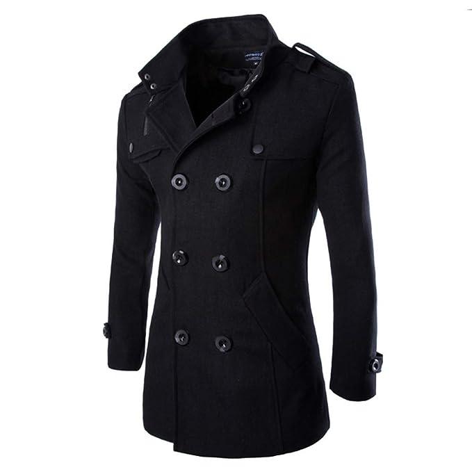 Amazon.com: AOWOFS - Abrigo de lana larga para hombre con ...
