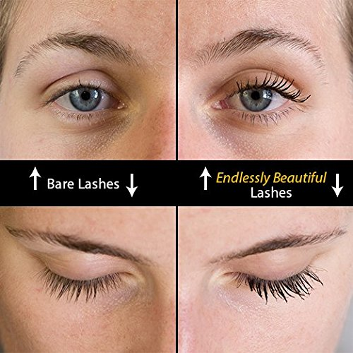 All Natural Organic Mascara | Black | Vegan & Cruelty Free | For Lash Growth, Lengthening and Volume | Best Gluten Free Eyelash Conditioning Eye Makeup | Volumizing & Washable Mascara | Made in USA by Endlessly Beautiful (Image #3)