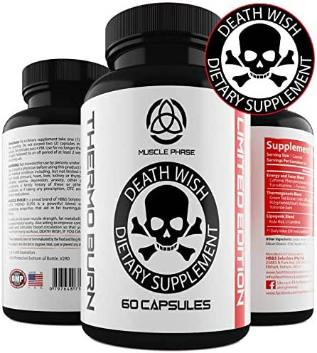 Thermo Burn by Death Wish Supplements. for Men and Women.Raspberry Ketones.Green Tea Extract. Extreme Oxy Burn Capsules