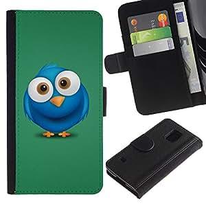 Paccase / Billetera de Cuero Caso del tirón Titular de la tarjeta Carcasa Funda para - Blue Bird Big Eyes Drawing Cartoon Character - Samsung Galaxy S5 V SM-G900