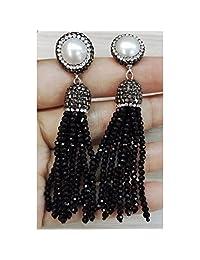 Tassel Long Earrings Glass Bead Rhinestone Charms Real Freshwater pearl Stud Long Dangle Earrings