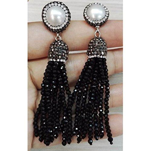 Pearl And Glass Bead Earrings (Tassel Long Earrings Glass Bead Rhinestone Charms Real Freshwater pearl Stud Long Dangle Earrings (Black))