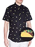 Visive Hawaiian Shirts For Mens | Taco Short Sleeve Button Down Modern Fit Woven Shirt (Taco,X-Large)