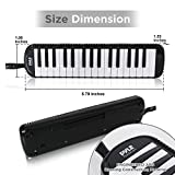 Professional Keyboard Harmonica Melodica Instrument - Pianica, Mouth Organ, Melody Horn, Wind Piano, Tremolo Key Melodica Kit Set w/Mouthpiece, Tube Accessories, For Beginner or Band - Pyle (Black)