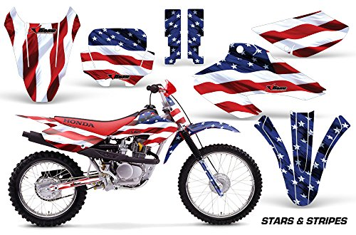 Graphics Decal Kit (Honda XR80 XR100 2001-2003 MX Dirt Bike Graphic Kit Sticker Decals XR 80 100 STARS & STRIPES)