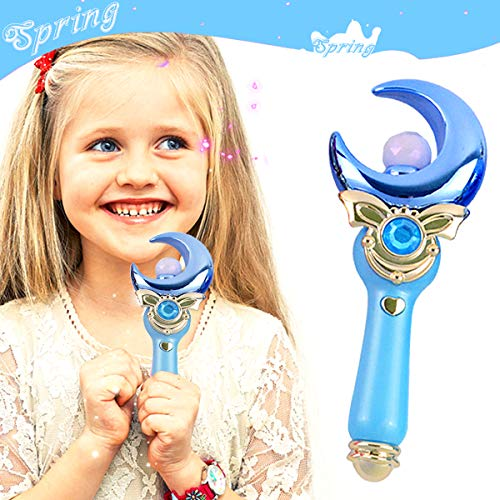 Yspring Sailor Moon Magic Wand Toys Cute Music + Flash Light Transfiguration Toy Proplica Moon Crescent Wand for Little Girls Anime Cosplay Props ()