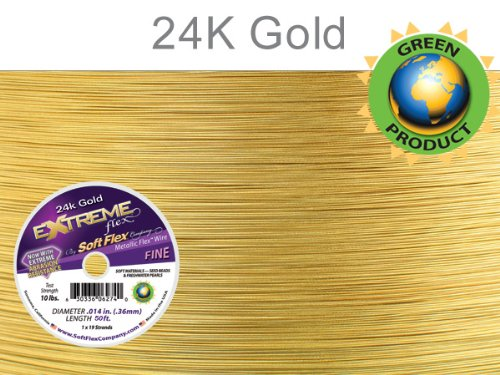 Soft Flex Extreme Bead Wire, 24k Gold, 0.014 Inch, 50 Feet | BDC-781.02 by EURO TOOL