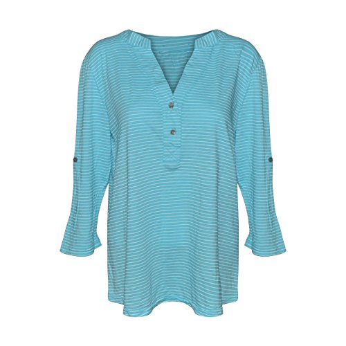 Fresh Produce Womens Pinstripe Buttonside Henley (Delray Ocean, Medium) Delray Stripe