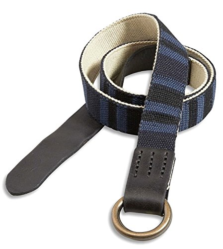 Lucky Brand - Men's - Reversible; Stone Khaki & Blue Baja Striped Fabric/Leather Belt (38) by Lucky Brand