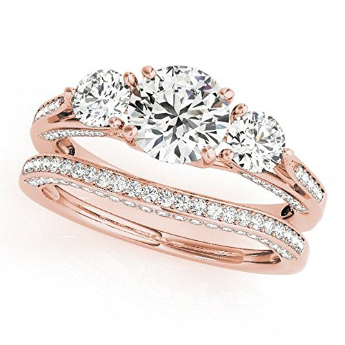 Pretty Jewellery Three Stone Engagement Wedding Bridal Rings Set in Diamond 14K Rose Gold Over 925 Silver