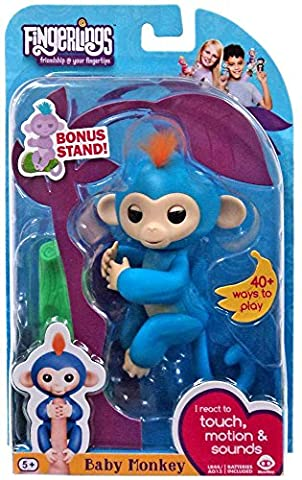 Fingerlings Baby Monkey - Boris - Blue (Includes Bonus Stand) - Toys and Games