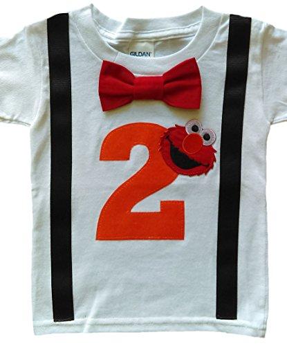 2nd Birthday Shirt Boys Elmo Tee, White-red-orange, 2T -