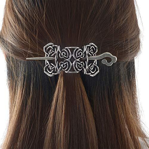 Viking Celtic Hair Sticks Hairpin-Viking Hair Clip Sticks for Long Hair Stick Slide Irish Hair Accessories (Silver-N-D2)