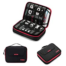 "BAGSMART 3-layer Large Travel Cable Organizer Electronics Accessories Case for 9.7"" iPad, Kindle, External Hard Drives, Cables, Black and Red"