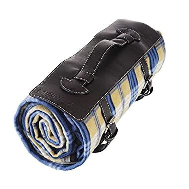 Monstar 59x79 inch Machine Washed X-Large Classic Plaid Outdoor Blanket With Leather Handler - Water Proof Backing Luxury Soft Style Picnic Rug - Easy To Fold - Perfect For Beach, Travel, Picnic Blanket