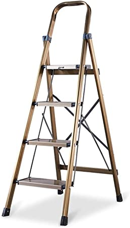 GY Escalera Taburete Plegable Aluminio Hogar Escalera portátil Escalera Escalera de ingeniería Multiusos Escalera de Cuatro escalones 134X76X44cm (Color : Gold): Amazon.es: Hogar