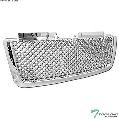 (Topline Autopart Chrome Mesh Front Hood Bumper Grill Grille ABS For 06-09 Chevy Trailblazer LT ; 2006 Trailblazer EXT)