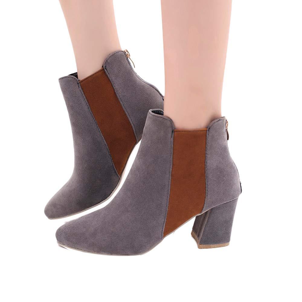 ❤️ Botas de Punta Estrecha para Mujer empalma los Zapatos de Color, Zapatos de tacón Alto de Gamuza Color Mezclado Botas Martin Bota de Cremallera Fishion Zapatos otoño Invierno Absolute
