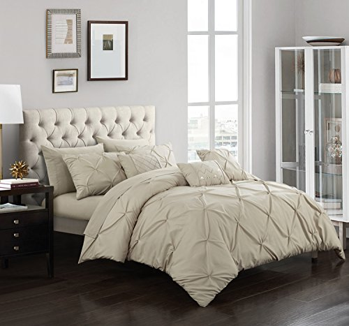 Chic Home Hannah 10 Piece Comforter Complete Bag Pinch Pleated Ruffled Pintuck Bedding with Sheet Set and Decorative Pillows Shams Included, King, Taupe by Chic Home (Image #1)