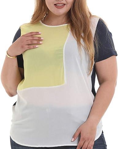 YEBIRAL Camisetas Mujer Tallas Grandes,Costura Color de ...